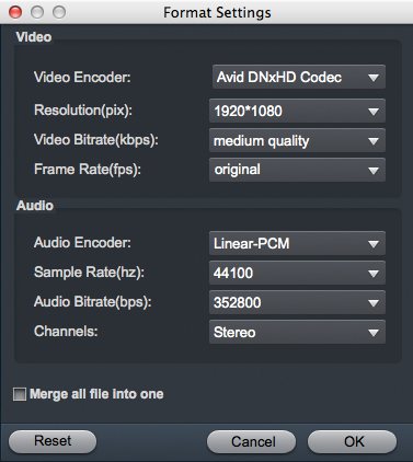 Canon MOV to Avid converter settings