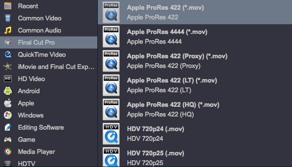Convert MXF to Apple ProRes 422 for Final Cut Pro X/7/6