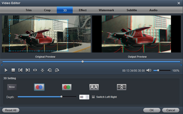 Convert 2D MXF to 3D
