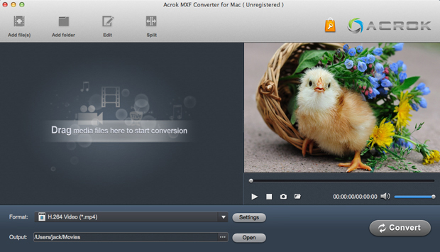 MXF Video Converter for Mac interface